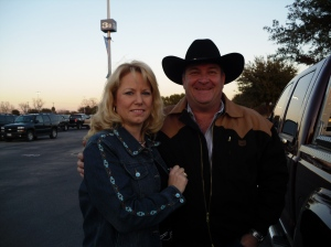 Let's Rodeo San Antonio!  Hubby and I before going in to watch the bull riding.